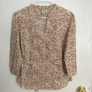 Banana Republic floral 3/4 sleeve blouse, Small